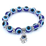 EatingBiting(R) Turkish Blue Evil Eye Protection Hamsa Hand Amulet 8mm Beading Blessing Fengshui Bracelet Gift