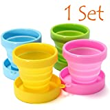 Collapsible Cup - Foldable Cup - Travel Cup - Camping Cup (1 Set contains 4 cups - 1 Green, 1 Yellow, 1 Blue, 1 Pink)