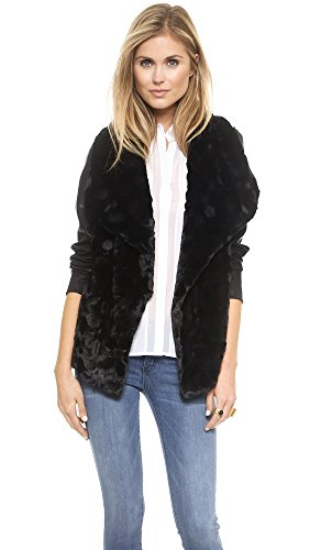 Bb Dakota Women'S Faux Fur Drape Front Jacket, Black, Medium