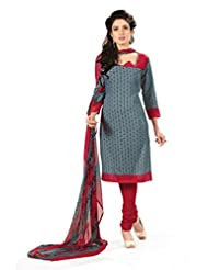 BanoRani Womens Grey & Red Color PolyCotton Unstitched Dress Material
