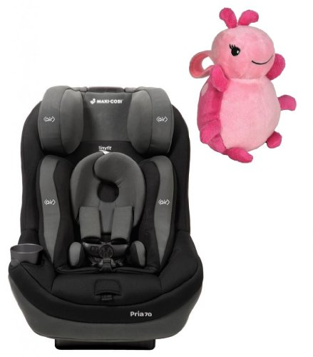 Maxi Cosi Pria 70 With Tiny Fit Convertible Car Seat (Total Black) And Lullaby To Go Travel Plush, Pink
