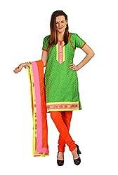 Riyali Green Cotton Self Design Dress material