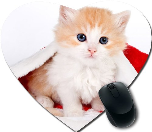 cute christmas kittens Personalized Unique Design Durable Printing heart shaped Mouse Pad