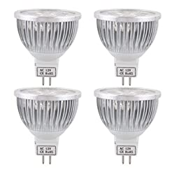 SODIAL(R)4X MR16 LED BULB LAMP ECONOMIC warm white 4W AC / DC