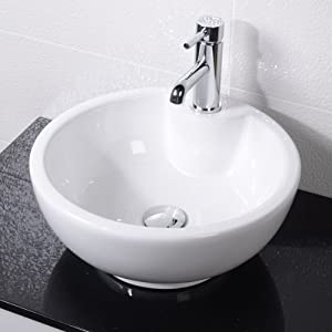 Countertop Sink Bathroom Basin Bowl White Ceramic: Amazon.co.uk: DIY ...