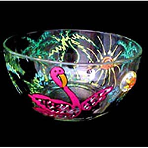 Flamingo Frolic Design - Hand Painted - Serving Bowl - 6 inch diameter