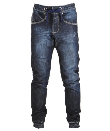 Mens Crosshatch Dark Wash Drawstring Cuffed Slim Leg Jeans