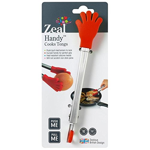 Cuisipro 9-1//2-Inch Silicone Tongs with Teeth Red