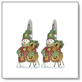 Sammy Sleigh Bells Christmas Shower Curtain Hooks