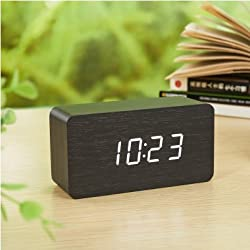 Smileto® Super Mini Rectangle Wood Style Grain Thermometer Touch Sound Activated Desk LED Digital Alarm Clock (Black case White light)