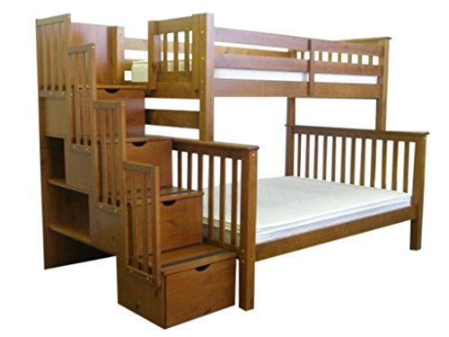 Bedz King Bunk Beds, Twin over Full with Stairway, Expresso (Full Expresso Bed compare prices)
