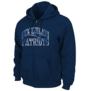 New England Patriots Majestic NFL Touchback IV Full Zip Hooded Sweatshirt - Navy by VF