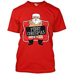 Merry Christmas - Naughty Santa - Ugly Christmas Men's T-shirt (Large, RED)