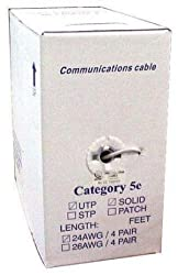 1000 Feet Grey Cat 5e Category 5 Enhanced Computer Networking Cable