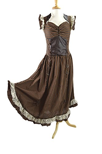 Banned Long Black Brown Stripe Steampunk Vintage Victorian Corset Dress (L)