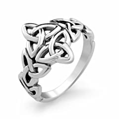 925 Sterling Silver Double Triquetra Celtic Knot Ring for Women