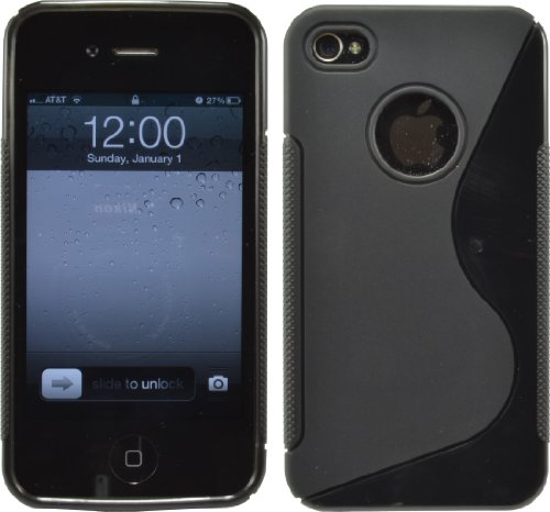 S-Line Tpu Silicone Gel Case Cover For Iphone 4 4G 4S At&T Verizon Sprint Black