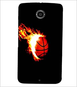 PrintDhaba Ball on Fire D-1227 Back Case Cover for MOTOROLA GOOGLE NEXUS 6 (Multi-Coloured)