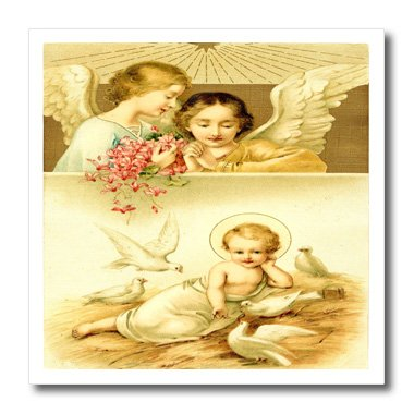 Ht_163268_2 Florene Angels And Cherubs - Image Of Vintage Angels Watch Over Baby Jesus - Iron On Heat Transfers - 6X6 Iron On Heat Transfer For White Material front-280276
