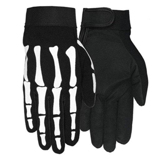 Skeleton Hand Bone Textile Mechanic Gloves Size LARGE