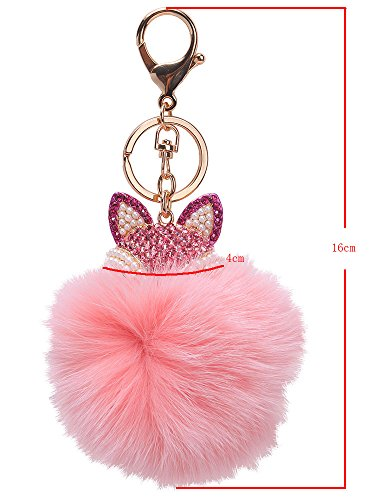 niceEshop(TM) Fox Fur Pom Pom Ball Keyring Women