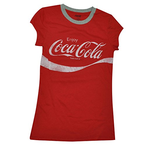 [Enjoy Coca Cola Coke Womens Tshirt Tee Red Beverage Distressed Logo Soda Large] (Coca Cola Dress)