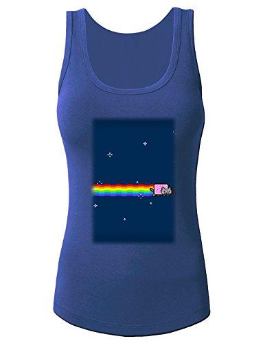 Kids SHIRTS nyan cat women's Print Fashion Tank Top Vest Blue Small