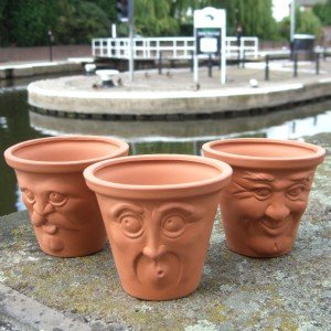 Terracotta Miniature Face Pots Set Of 3 Character Plant