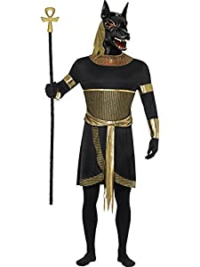Smiffy's Men's Anubis The Jackal Tunic with Collar Arm Cuffs Armbands and Mask, Black/Gold, Medium