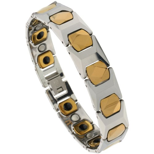 Sabrina Silver Tungsten 2-Tone H & Cushion Link Magnetic Bracelet, 1/2 in. (13mm) wide (BTN158)
