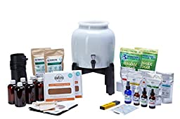 Kombucha Continuous Brew Kit System - Drink Kombucha Tea On Tap (Making A Lifetime Of Home Brewed Kombucha Tea Easy For You) GetKombucha® - Includes 2.5 Gallon Porcelain Brewing Vessel w/ Handcrafted Wood Brewer Stand - 2 Non Dehydrated HUGE Organic Komb