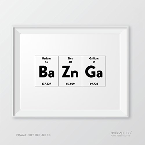 Andaz Press Periodic Table of Elements Wall Art Decor, 8.5 x 11-inch, Bazinga, 1-Pack - Geeky Scientific Chemistry Physics Science Print, Typographic Calligraphy Minimalist Black and White Poster for Home School or Office Art, Christmas Birthday Gift Idea Holiday Present Ideas (Kitchen Elements compare prices)