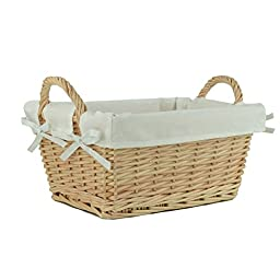 RURALITY Wicker Woven Storage basket With Liner,Small