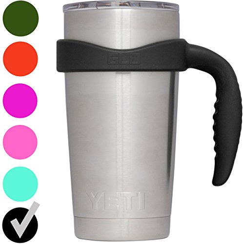 GLO - Handle For YETI Rambler 20 Oz Tumbler Cup - Fits Ozark Trail, RTIC & more - Handle Only (Black)