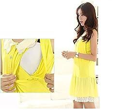 Maternity Clothes for Women Yellow Chiffon Maternity Dress Large