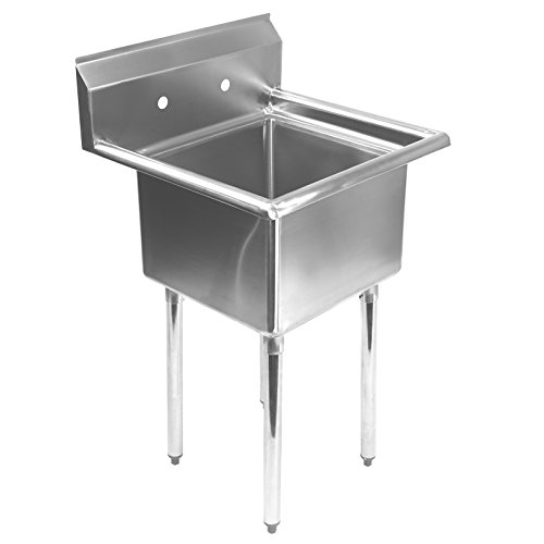 Best Price Gridmann - 1 Compartment Stainless Steel Commercial Kitchen Prep & Utility Sink - 24&...