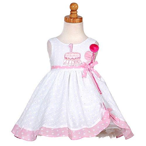 White Pink Balloon 1st Birthday Dress Baby Girl 18M