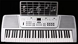 Crescent 61 Keys Silver Electronic Keyboard Digital Piano Student Beginners