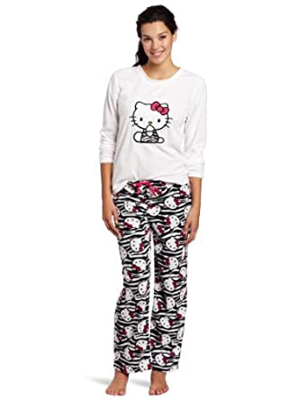 Hello Kitty Juniors Print Pajama Set with Ribbon, White/Black, Small