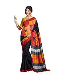 IndiWeaves Women Art Silk Printed Black+Orange Saree.