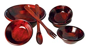 Wooden Salad Bowl Set, 7-Peice, Mahogany