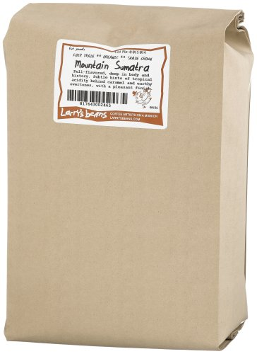 Larry's Beans Fair Trade Organic Coffee, Mountain Sumatra, Whole Bean, 5-Pound Bag