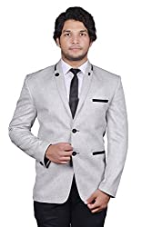 BREGEO FASHION Grey Party Slim Fit Blazer D1