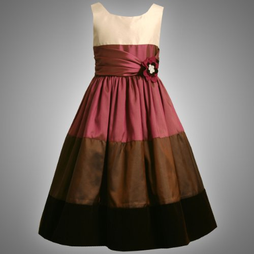 Size-20.5 BNJ-9537X BROWN MAGENTA IVORY IRIDESCENT COLOR BLOCK Special Occasion Wedding Flower Girl Holiday Party Dress,X89537 Bonnie Jean Girl PLUS