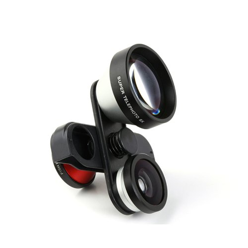 4 In 1 Photo Lens Double Fish Eye Macro 5X Super Telephoto Lens For Iphone 5 5S
