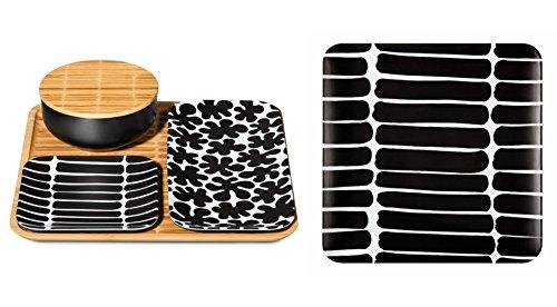 marimekko-okariino-print-black-white-bamboo-pattern-4-piece-serving-set-large-serving-tray-bundle