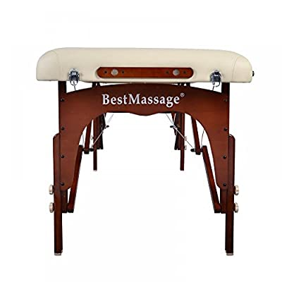 "Cream BestMassage 30"" Professional Portable Massage Table With Memory Foam Layer"
