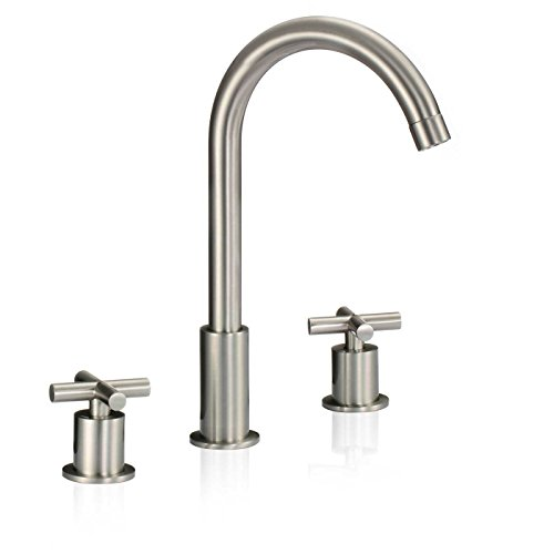 Wovier Brushed Nickel Waterfall Bathroom Sink Faucet,Two Handle Three Hole Vessel Lavatory Faucet,Widespread Basin Mixer Tap (Bathroom Waterfall Faucet 3 Hole compare prices)
