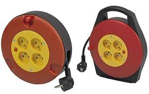 Enrouleur de câble électrique 4 prises avec disjoncteur, 10 m