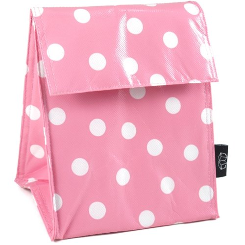 Two Lumps of Sugar Pink and White Polka Dot Lunch Sack - 1